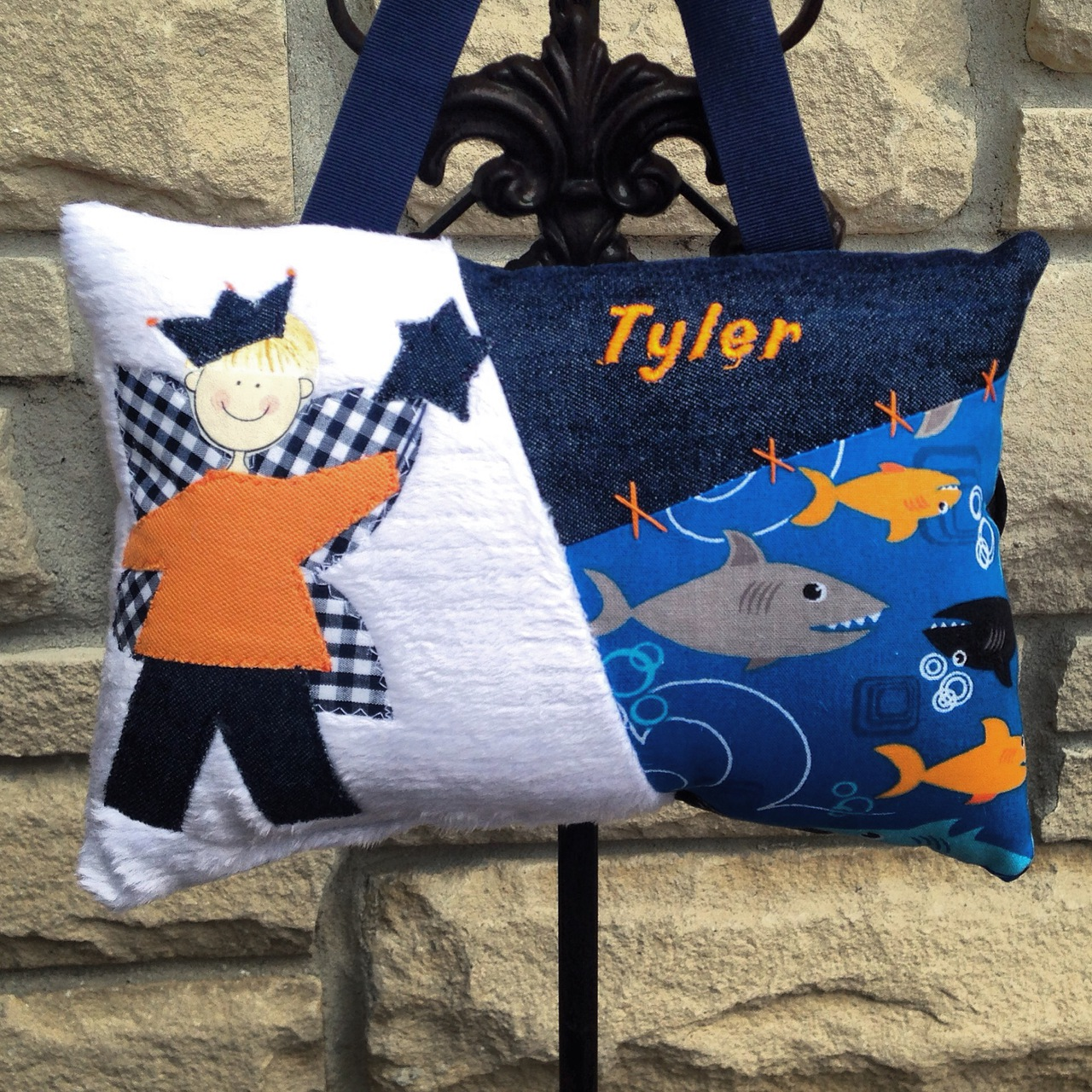personalized boys tooth fairy pillow custom made in sharks fabric