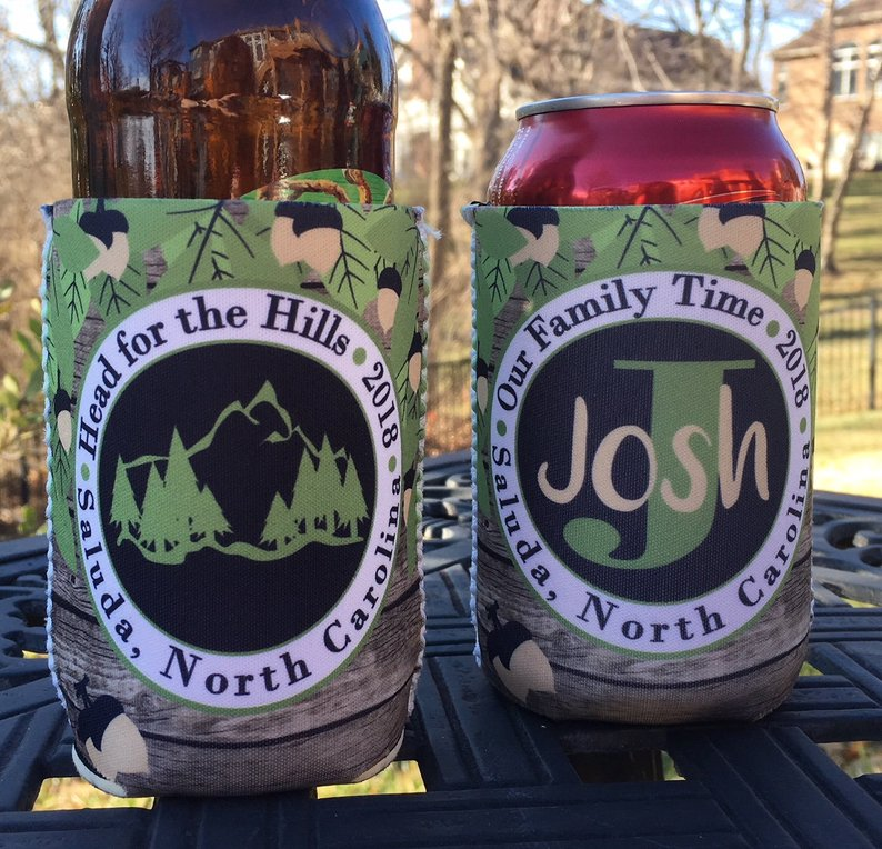 Personalized Mountain Vacation Koozies Mountain Hills