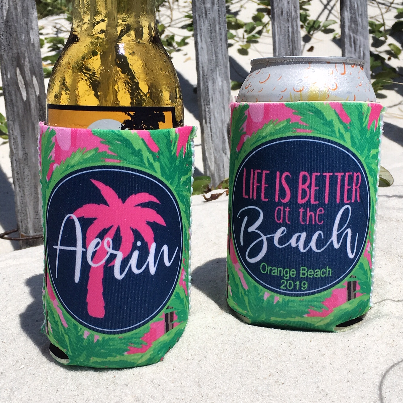 Personalized Beach Vacation Tropical Koozies Life Is Better At The Beach Pink Palm Trees