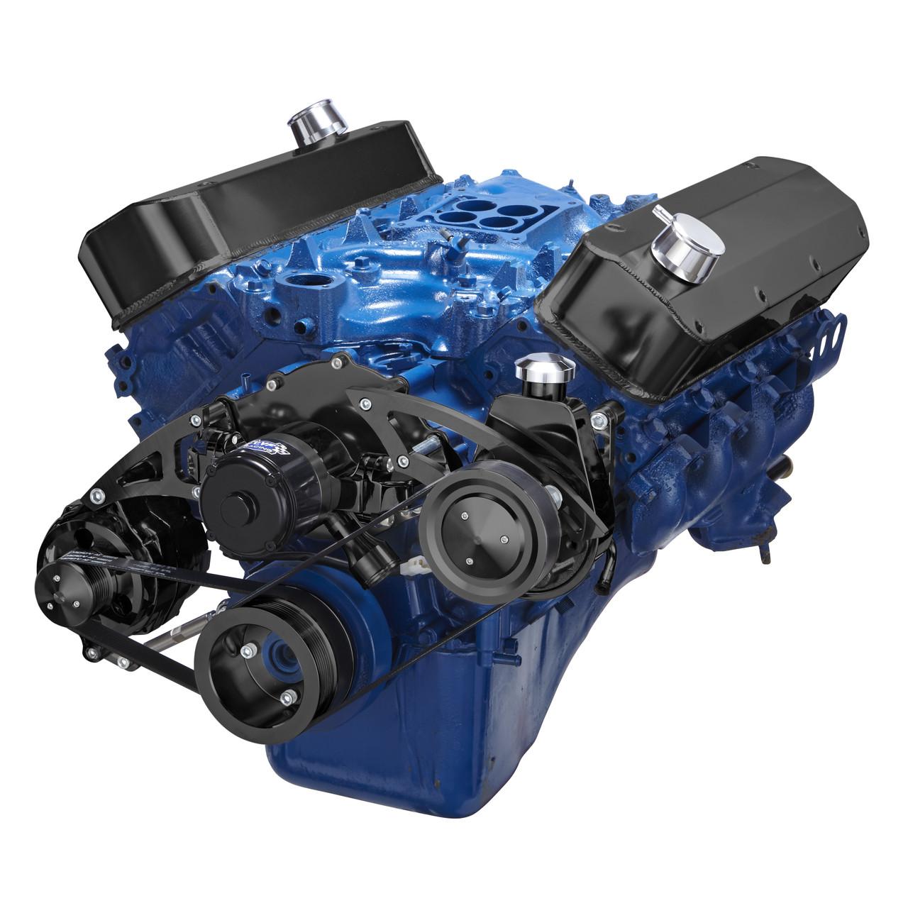black ford 429 460 big block serpentine conversion kit electric water pump and saginaw power steering [ 1280 x 1280 Pixel ]