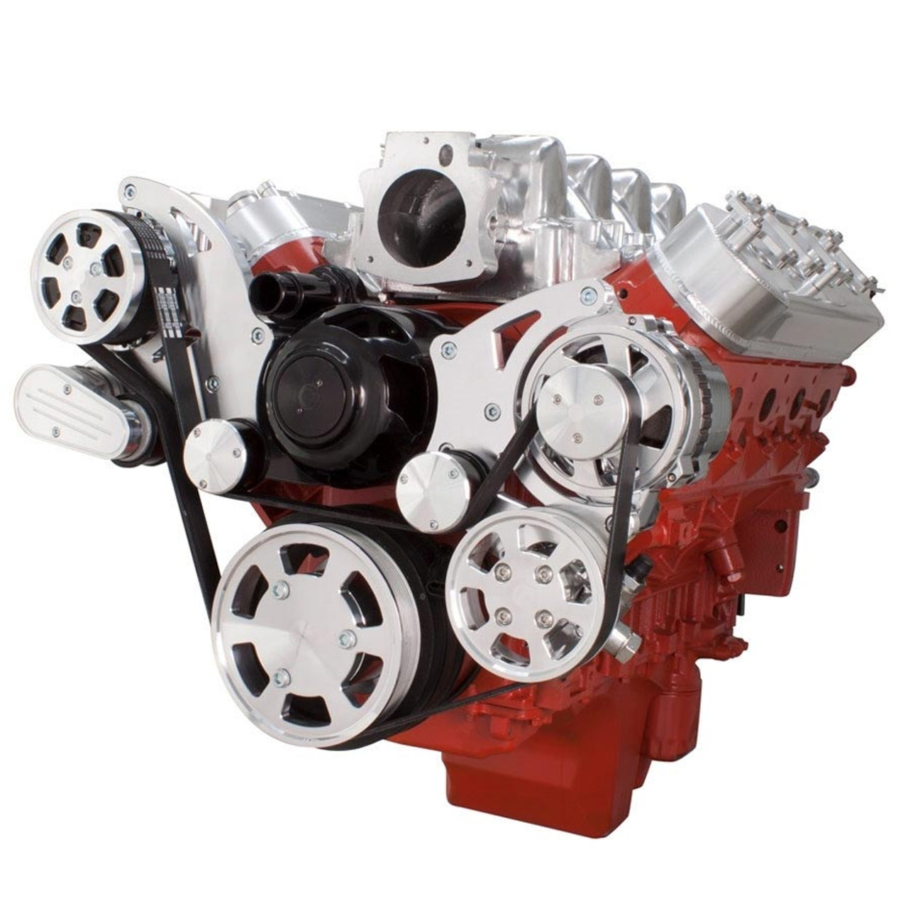 chevy ls engine serpentine kit ac alternator power steering with electric water  [ 900 x 900 Pixel ]