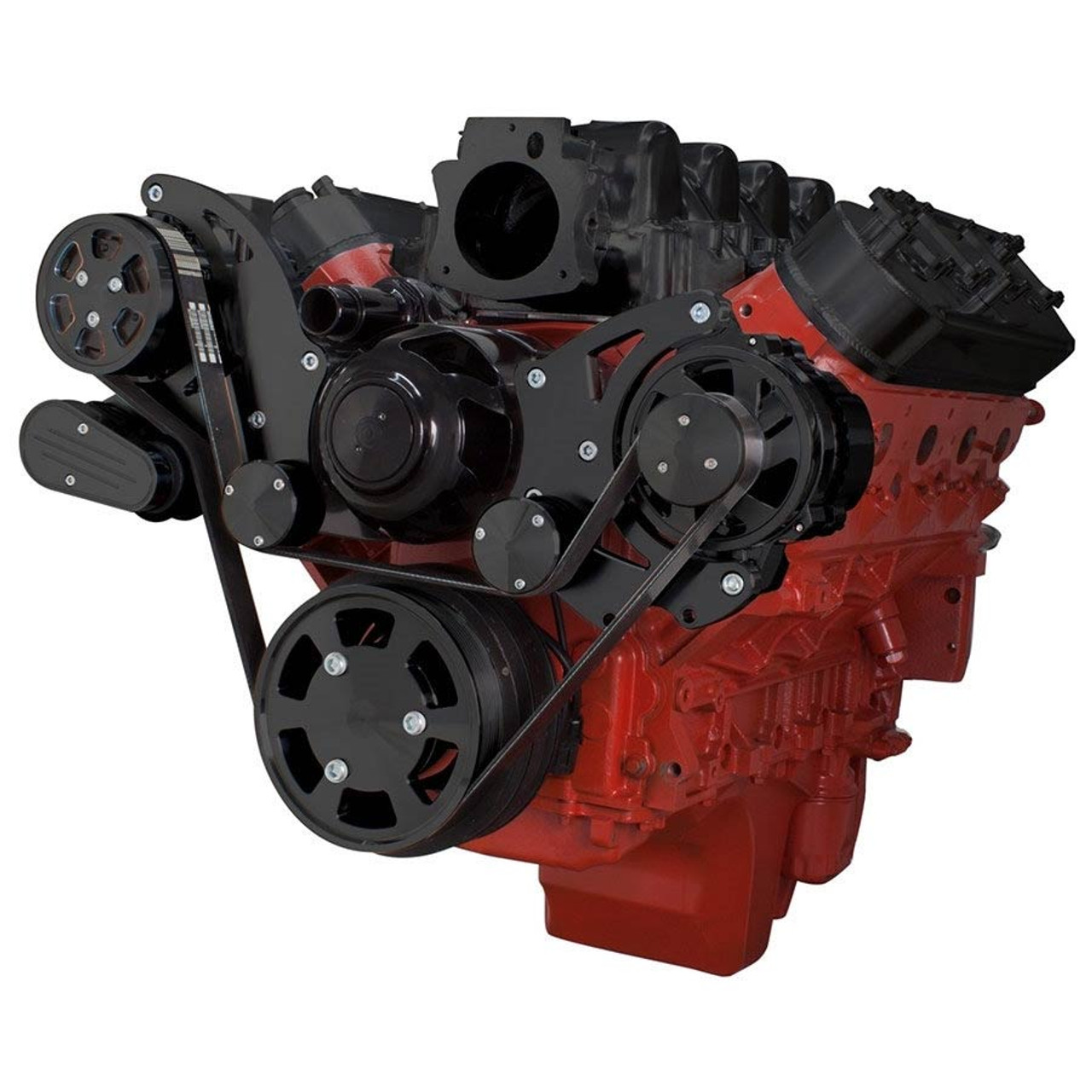 stealth black chevy ls engine serpentine kit alternator only with electric water pump [ 900 x 900 Pixel ]