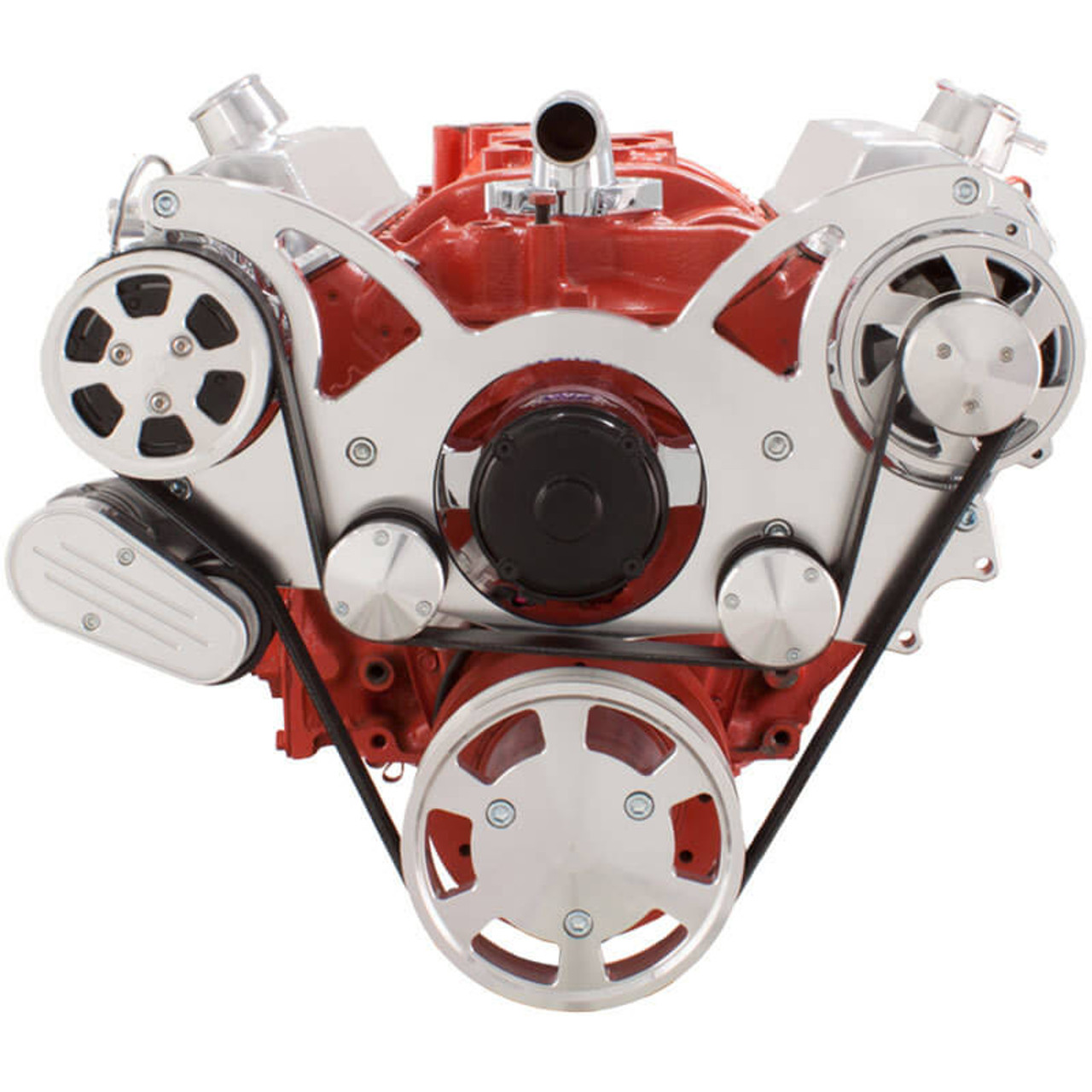 serpentine conversion kit for small block chevy 283 350 400 with ac on 283 externally regulated alternator  [ 1280 x 1280 Pixel ]