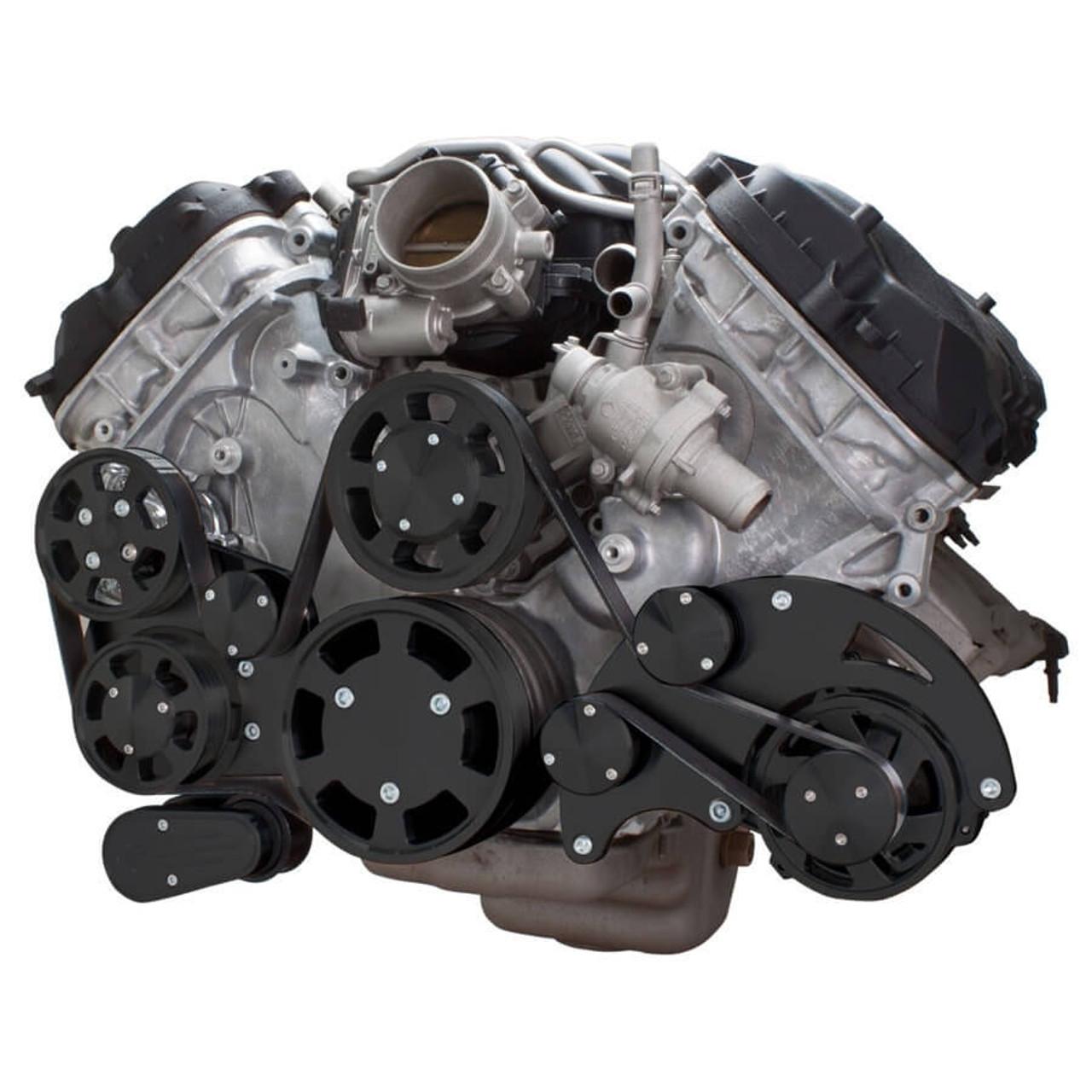 medium resolution of stealth black serpentine system for ford coyote 5 0 alternator power steering