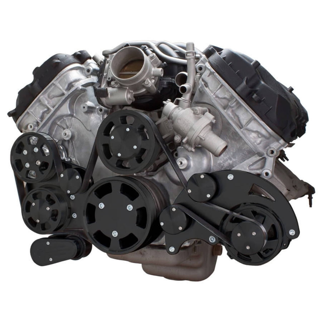 hight resolution of stealth black serpentine system for ford coyote 5 0 alternator power steering