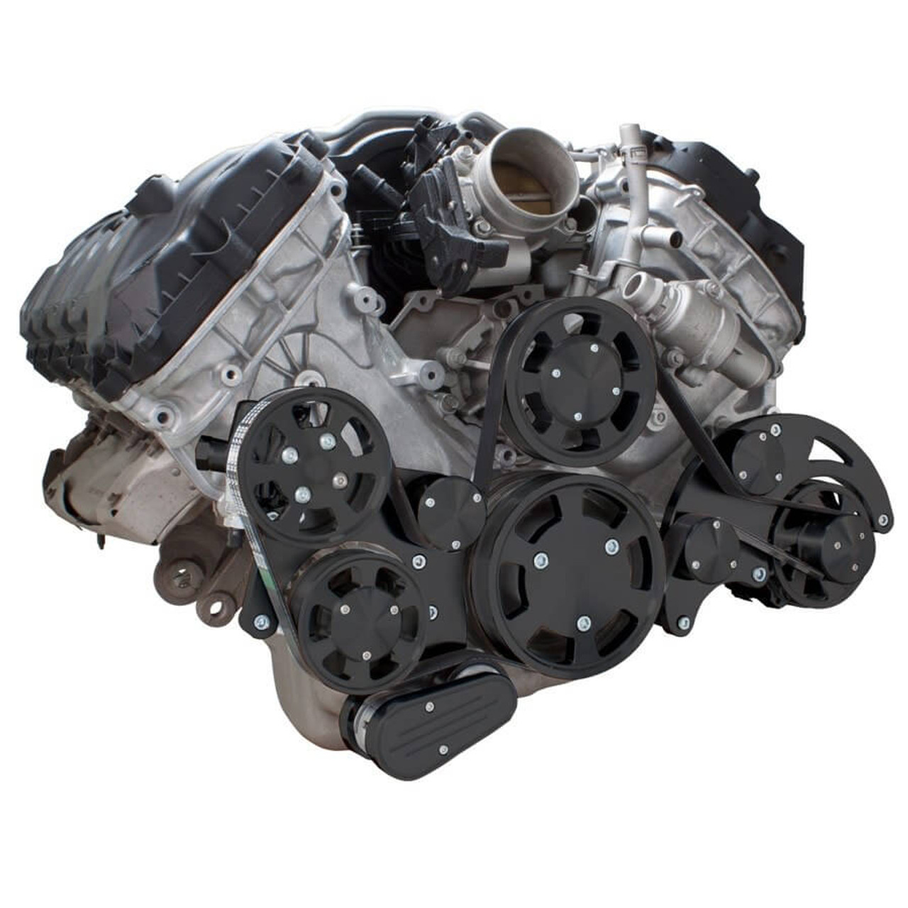 stealth black serpentine system for ford coyote 5 0 alternator power steering [ 900 x 900 Pixel ]