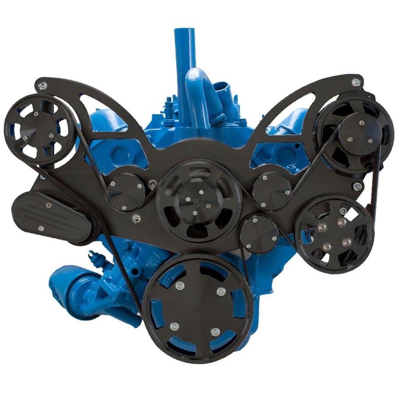 medium resolution of stealth black serpentine system for amc jeep 306 360 401 power steering
