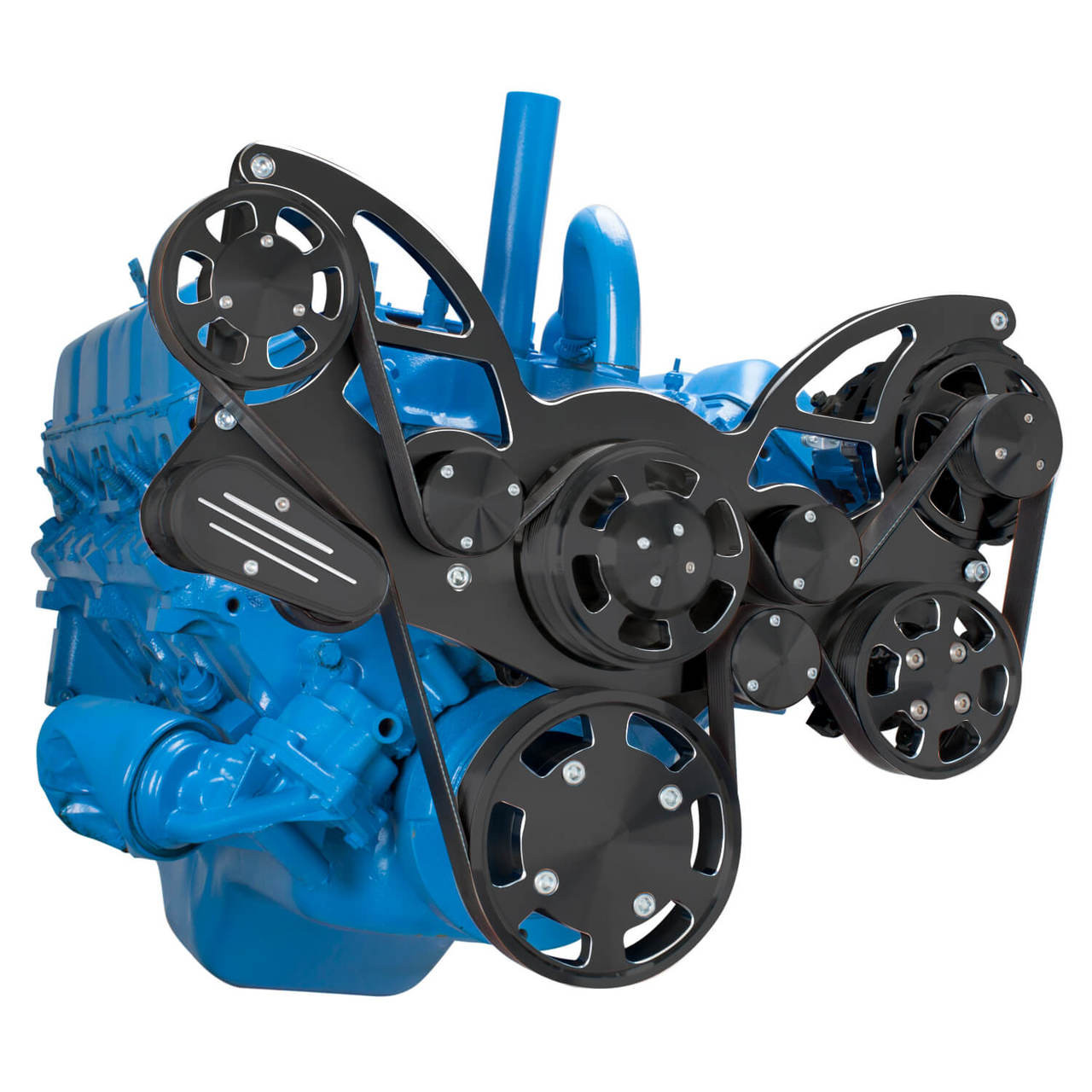 stealth black serpentine conversion kit for amc jeep with power steering alternator [ 1280 x 1280 Pixel ]