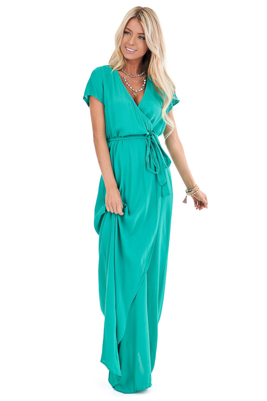 Jade Green Wrap Neck Short Sleeve Maxi Dress With Tie