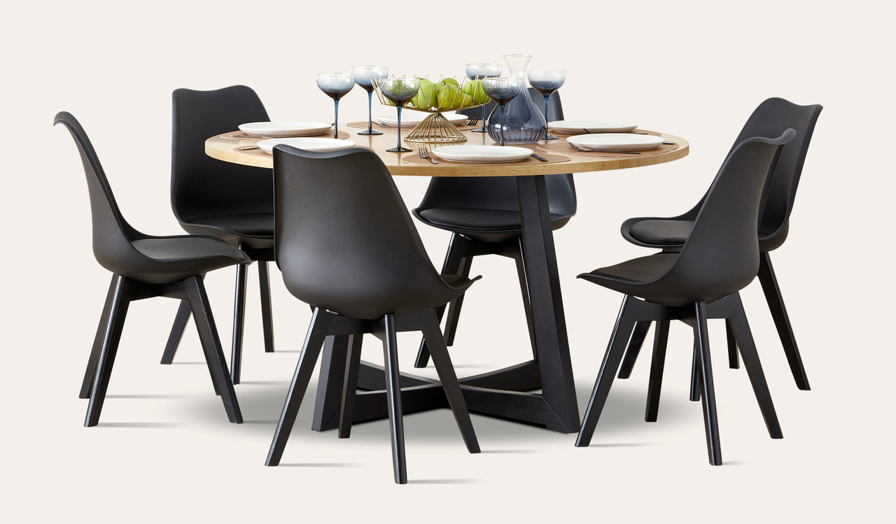 Esperance 7 Piece Round Dining Suite In Australian Hardwood With Vibe Chair