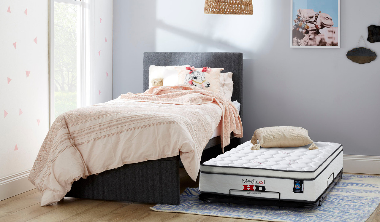 King Single Trundle Bed Includes Bedhead 2 Mattresses Focus On Furniture