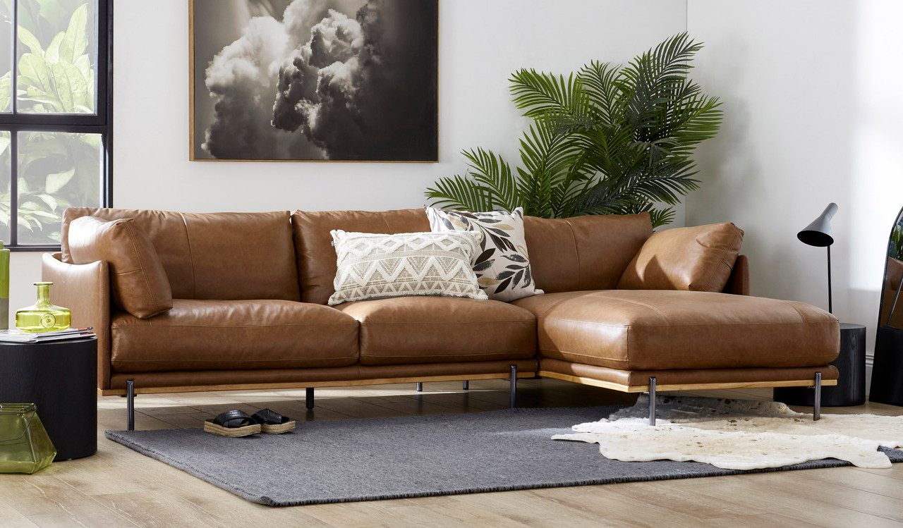 ollie leather 3 5 seat seat lounge with chaise