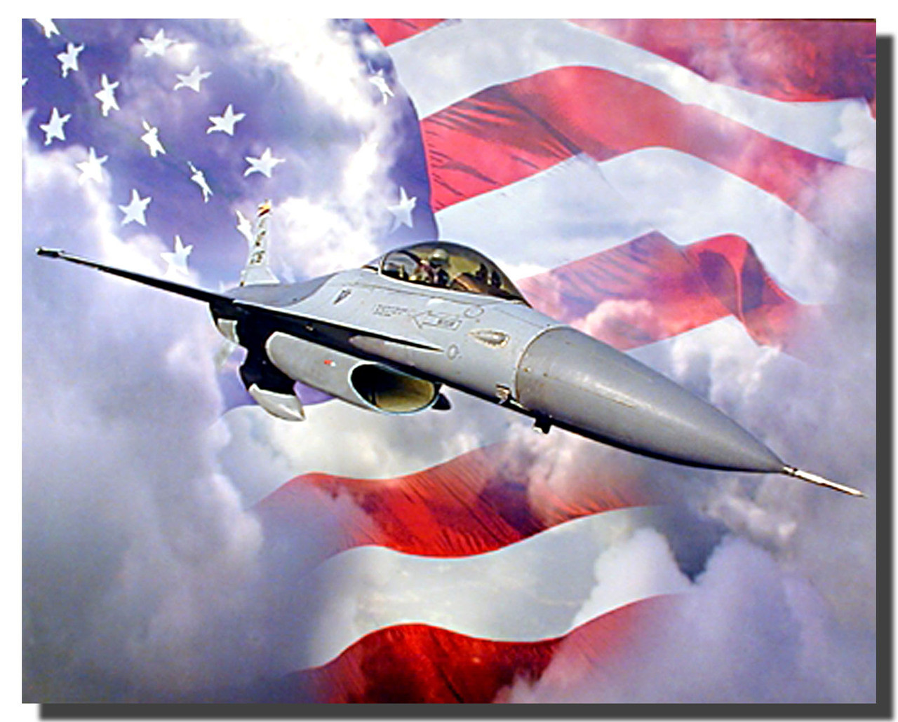 Falcon American Flag Airplane Posters
