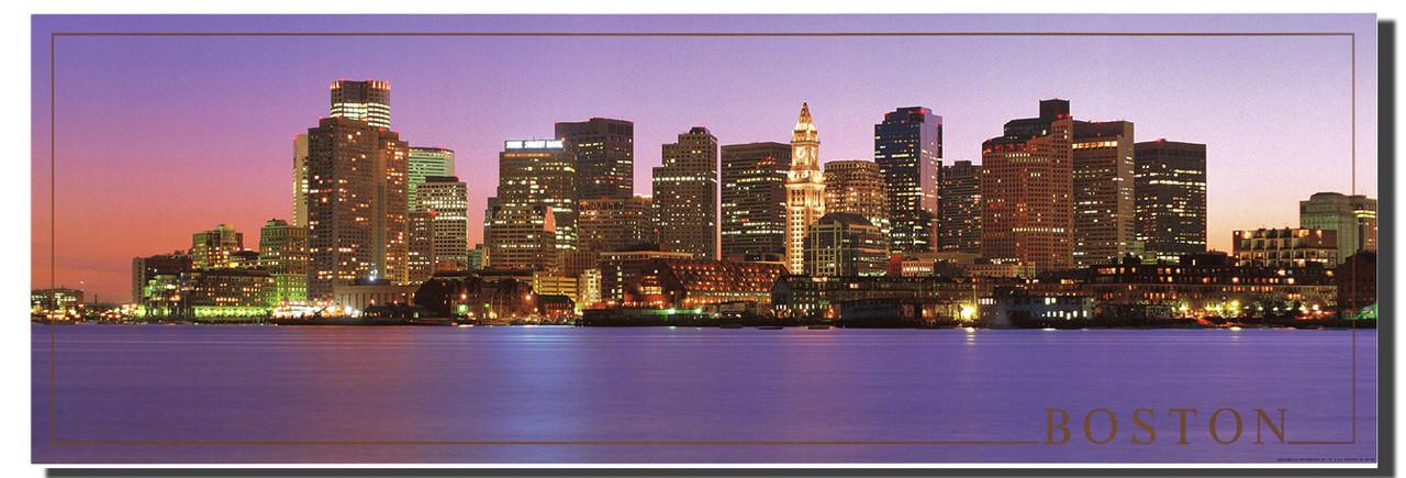 boston city skyline at night wall decor poster art print 12x36