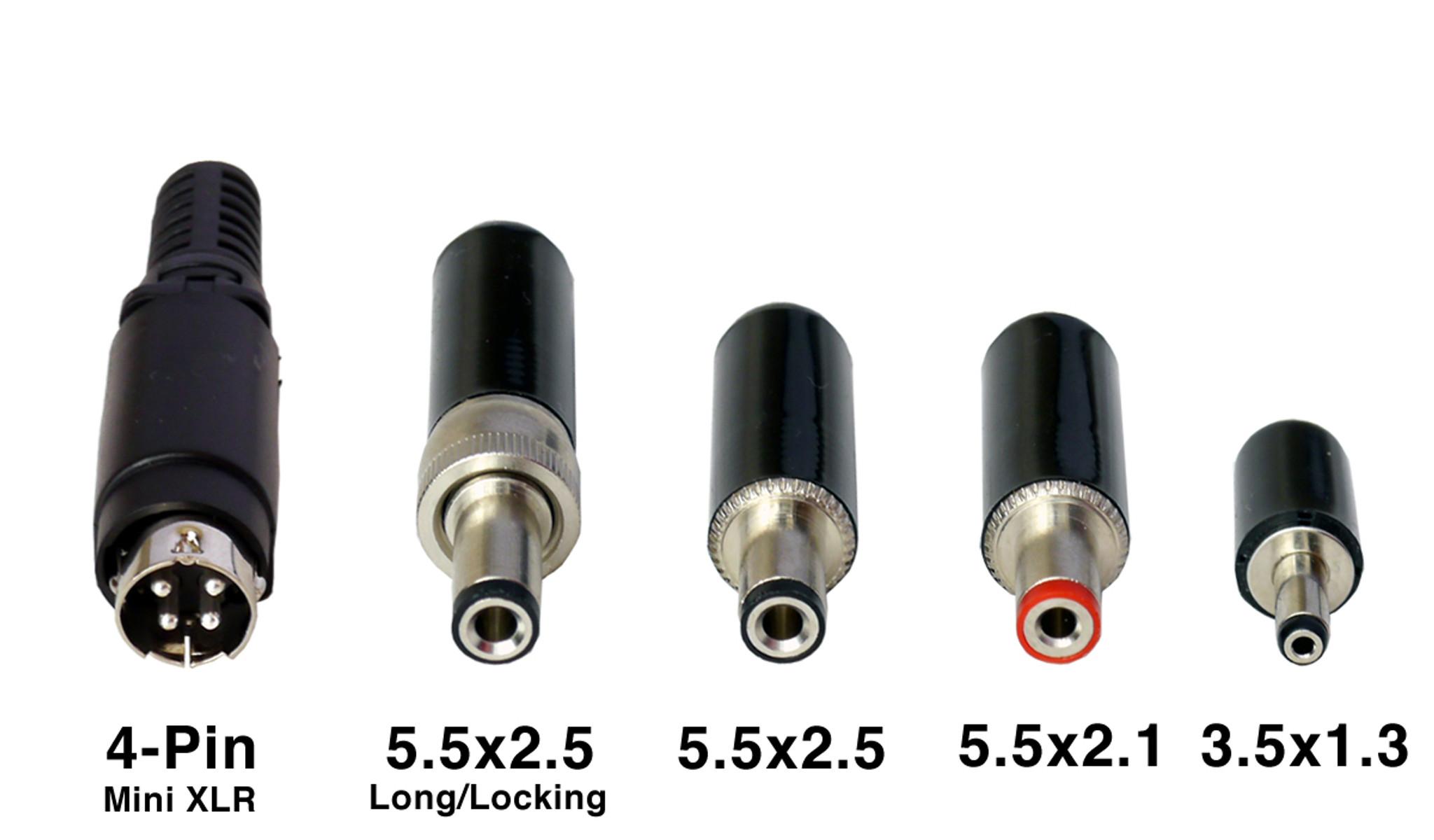 medium resolution of dc plug options and sizes