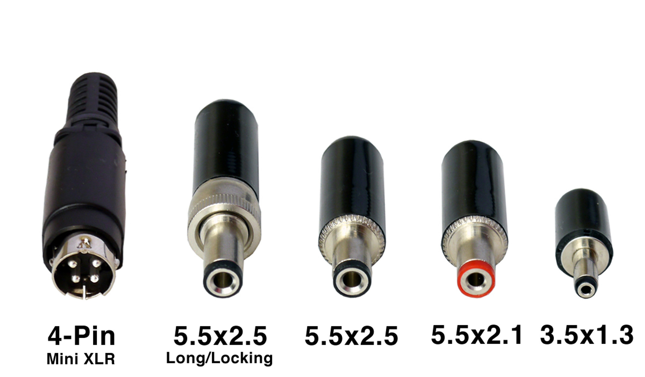hight resolution of dc plug options and sizes