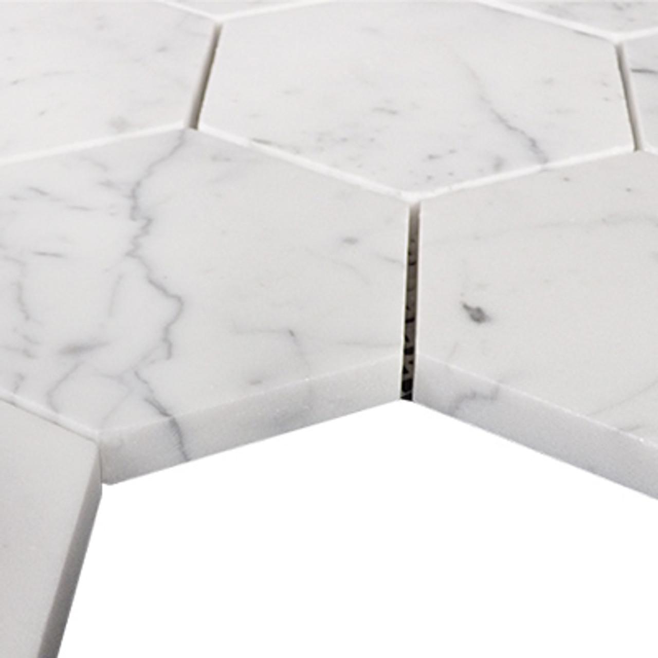 carrara marble italian white bianco carrera 4 hexagon mosaic tile polished
