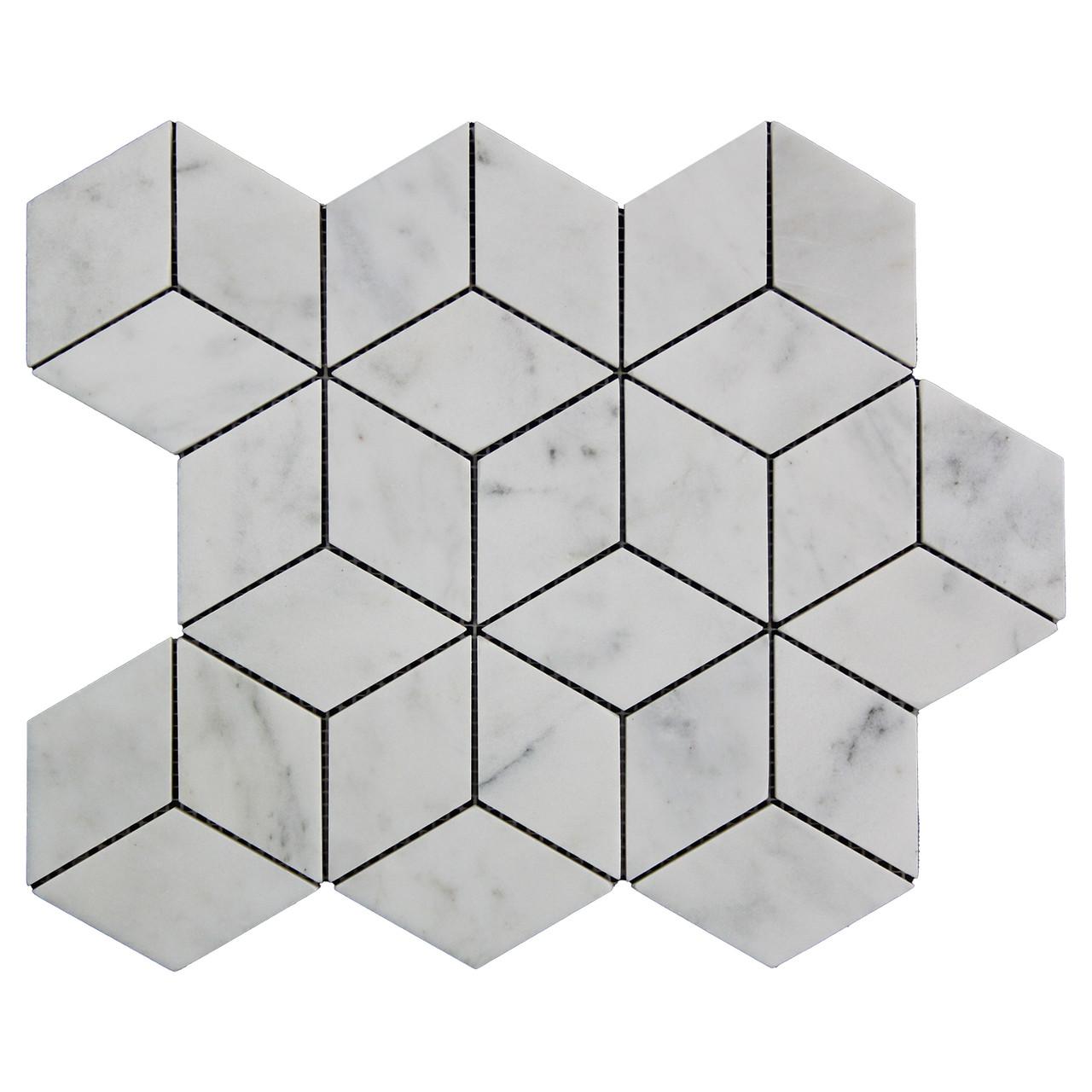 carrara white italian marble rhombus 3d diamond mosaic tile polished