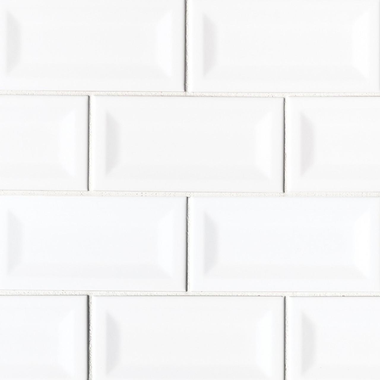 ms international backsplash series white glossy 3x6 inverted beveled subway tile nwhiglo3x6invbev