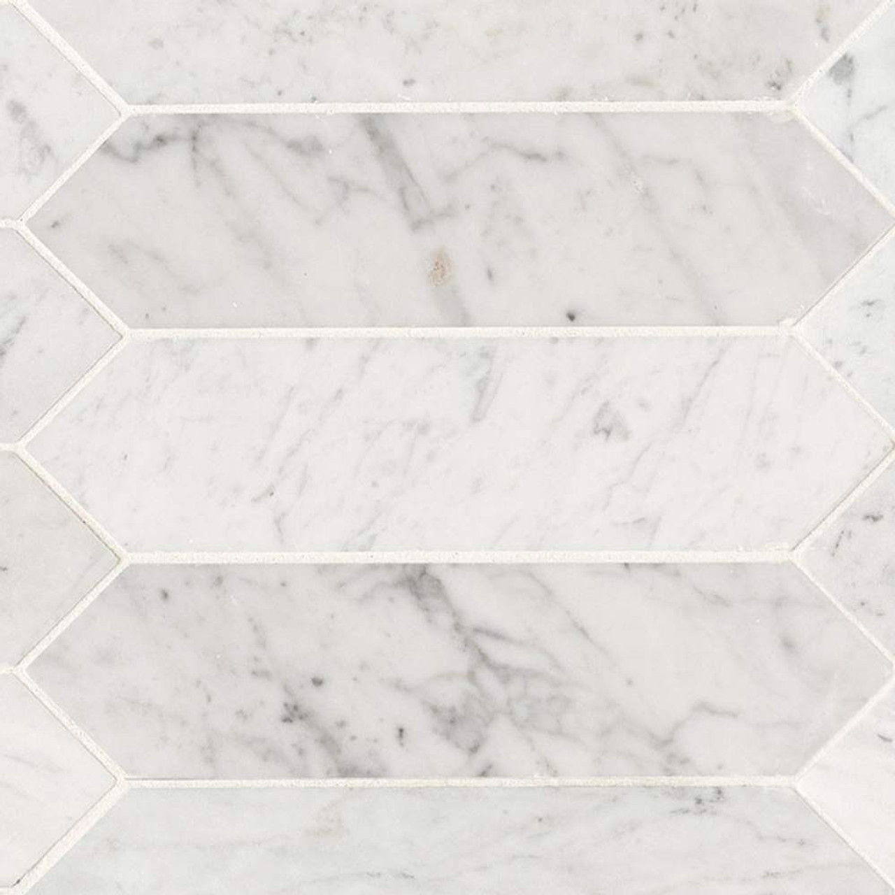 ms international specialty shapes wall series carrara white 3x12 honed picket shape tile smot car pk3x12h