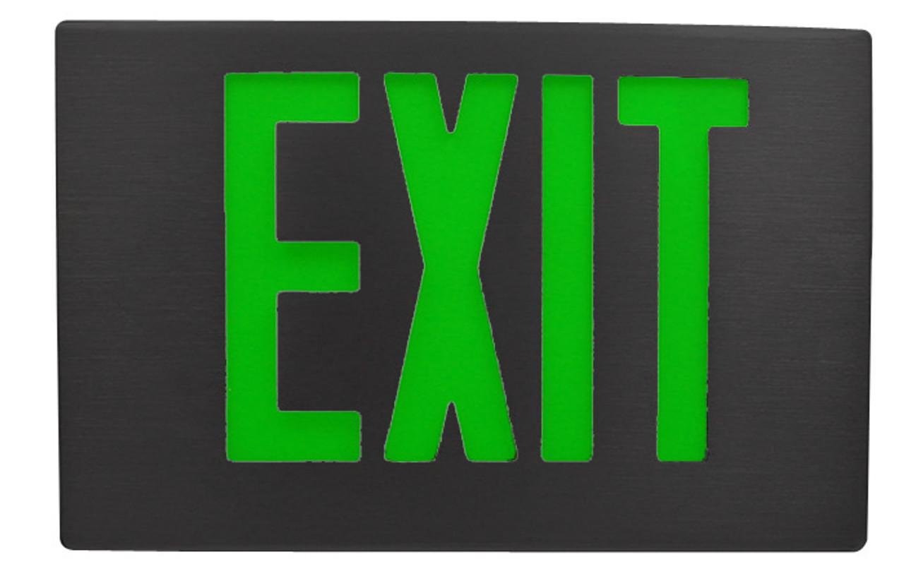 black aluminum exit sign