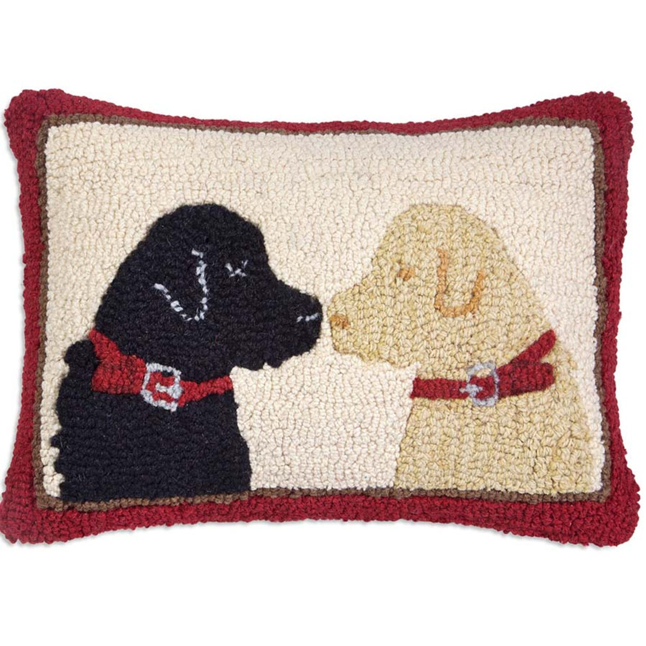 pet lovers 2 labs hooked wool pillow