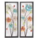 Framed Colorful Metal Flowers Wall Decor Garden Set
