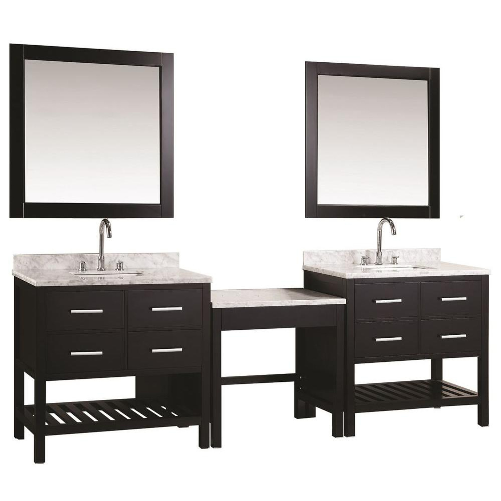 design element dec077ax2 mut two london cambridge 36 single sink vanity set in espresso with one make up table in espresso