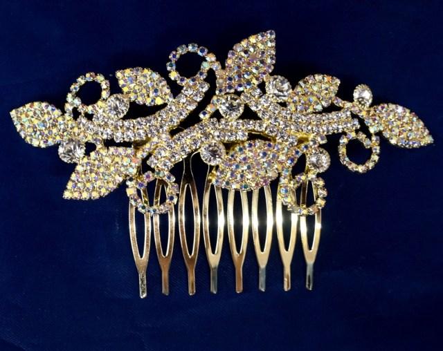 "4"" gold ab crystal bridal hair comb with rhinestones"