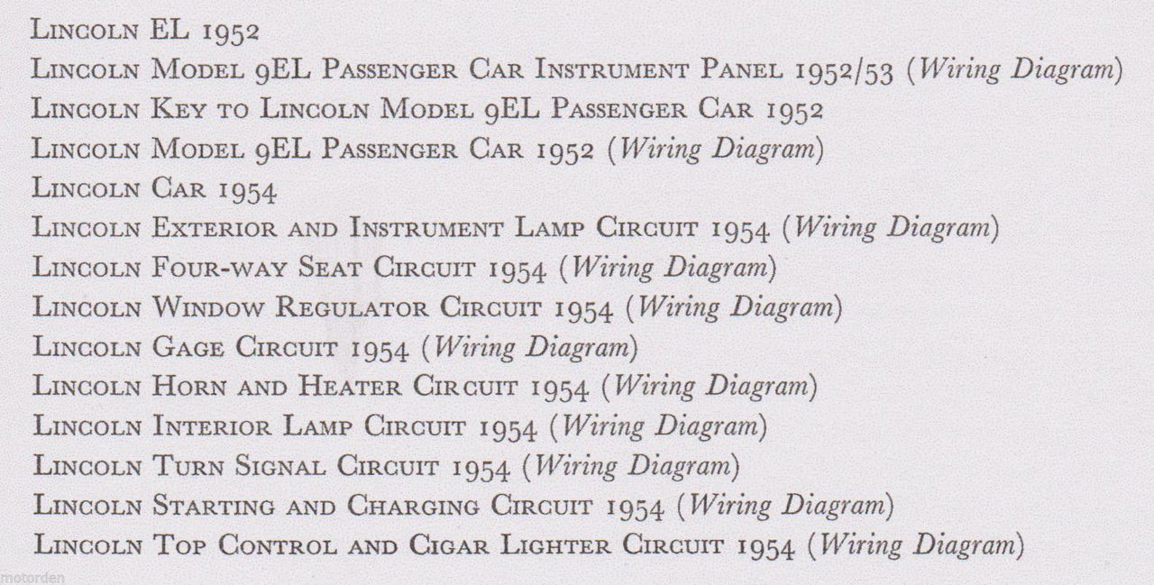 lincoln 1952 1954 data wiring diagrams inc electric windows 15pp 1956 free post [ 1280 x 649 Pixel ]