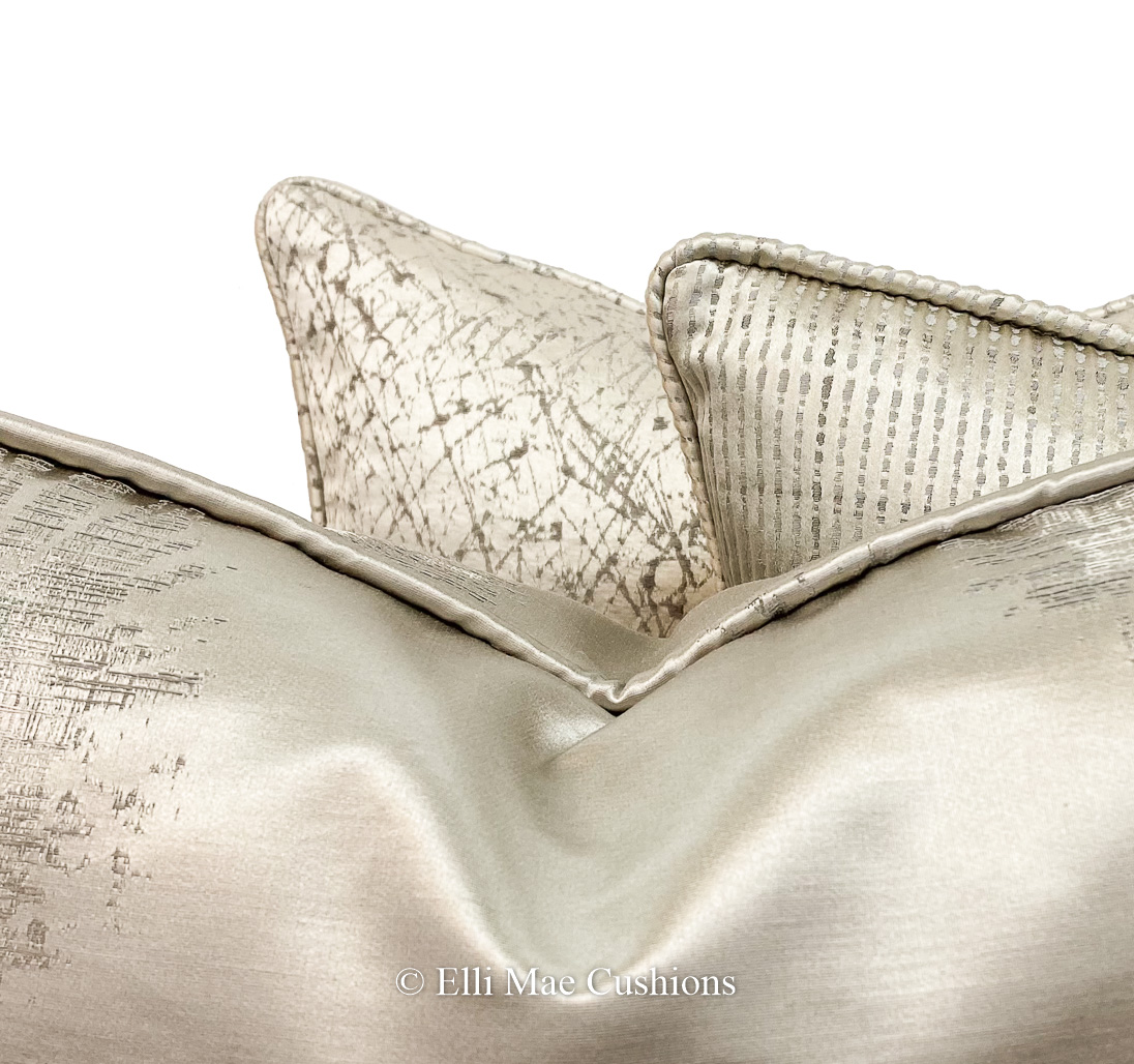 luxury designer silver grey contemporary satin cushion pillow cover
