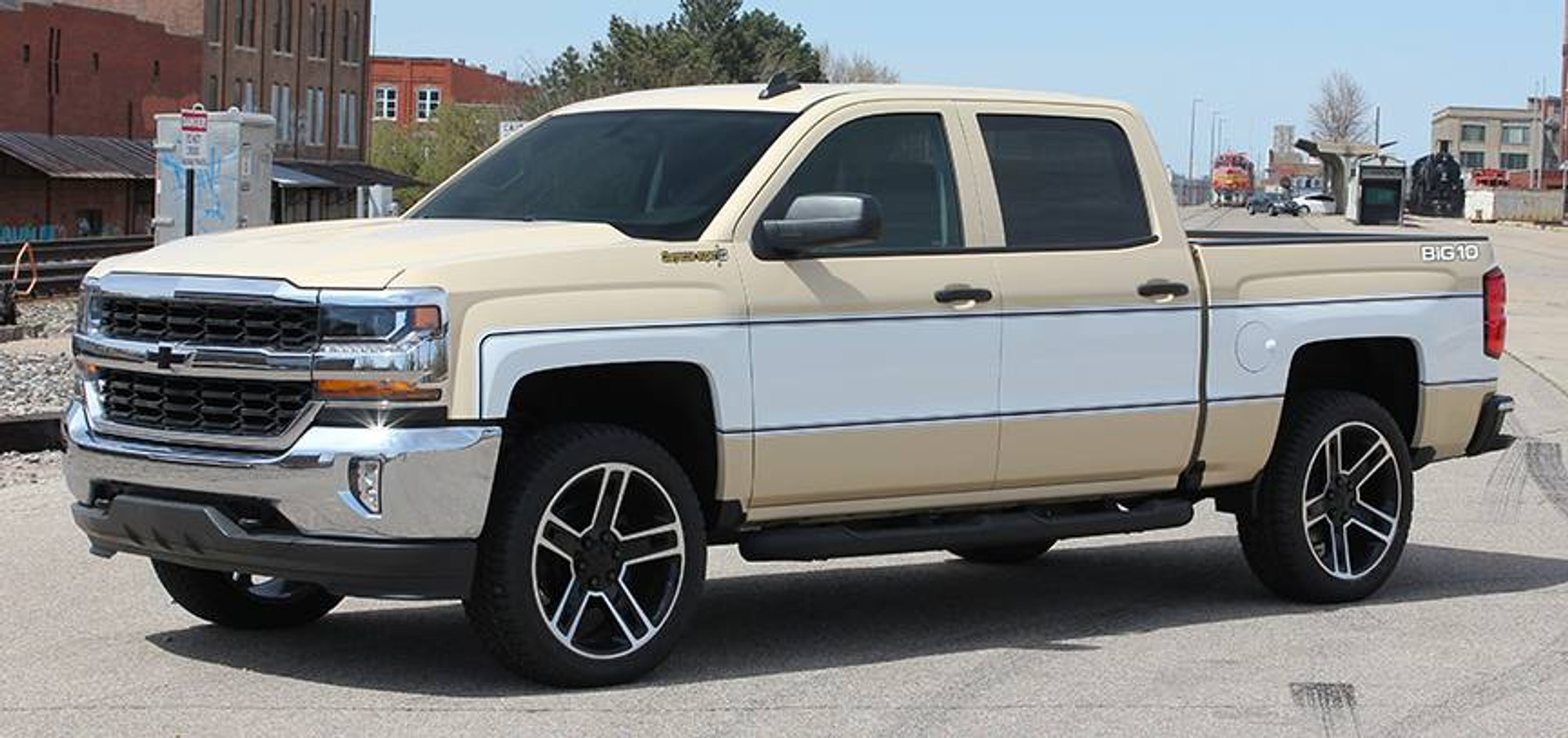 medium resolution of 2014 2019 chevy silverado retro cheyenne graphic kit angled front side view