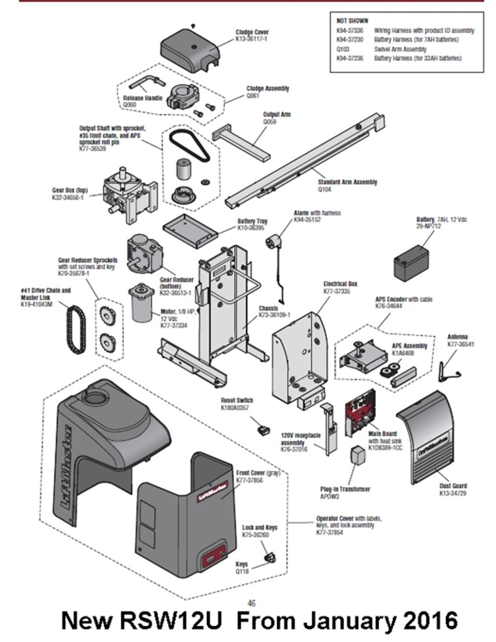 Liftmaster RSW12U parts breakdown