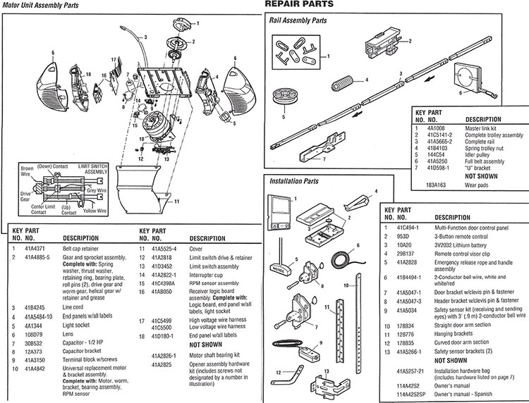 Chamberlain Belt Drive models 248739 Parts
