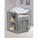 Diaper Corner Baby Changing Table With Hamper And Basket Gray