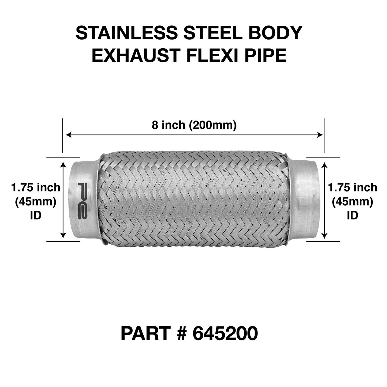 1 75 stainless steel 45mm exhaust pipe