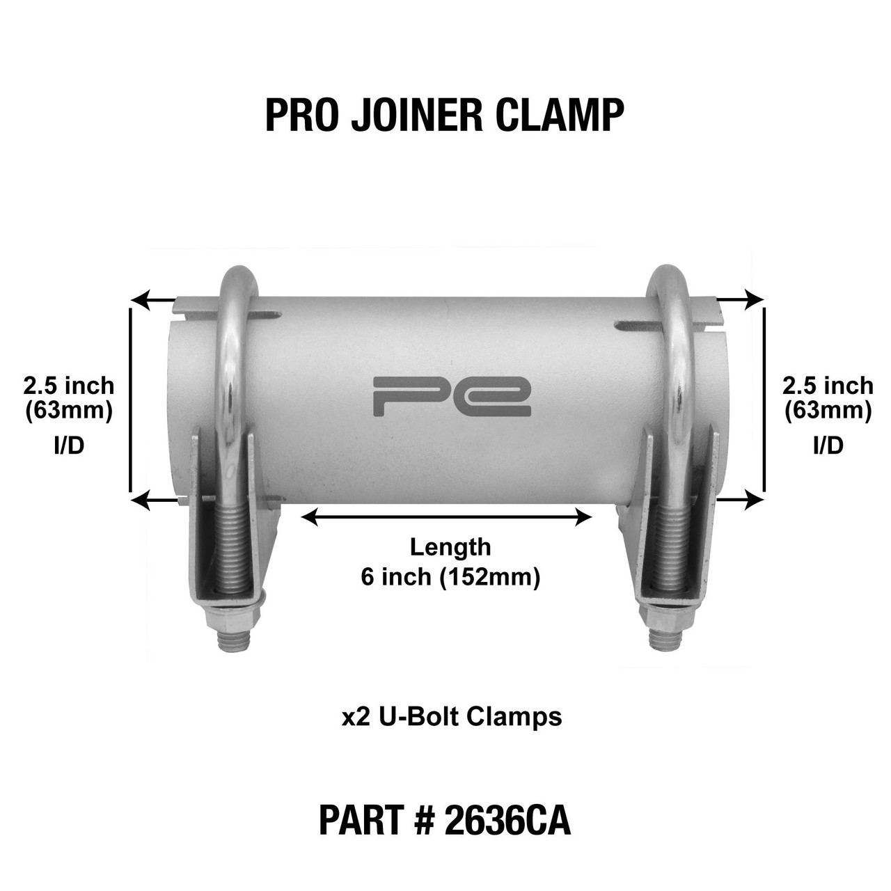 2 5 63mm id clamp on exhaust pipe joiner connector sleeve tube repair