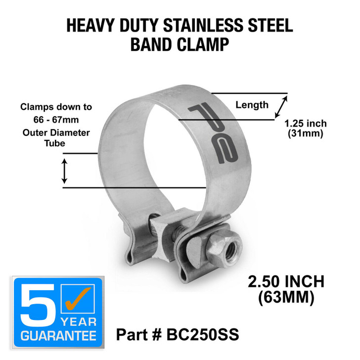 2 5 inch 63mm stainless steel band clamp heavy duty exhaust band bc250ss