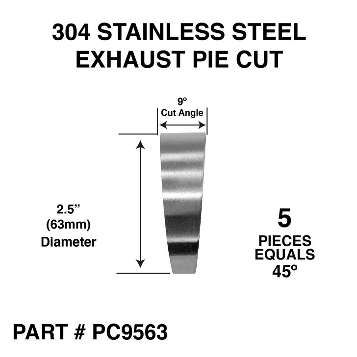 2 5 63mm pie cut 45 degree 304 stainless steel exhaust elbow bend