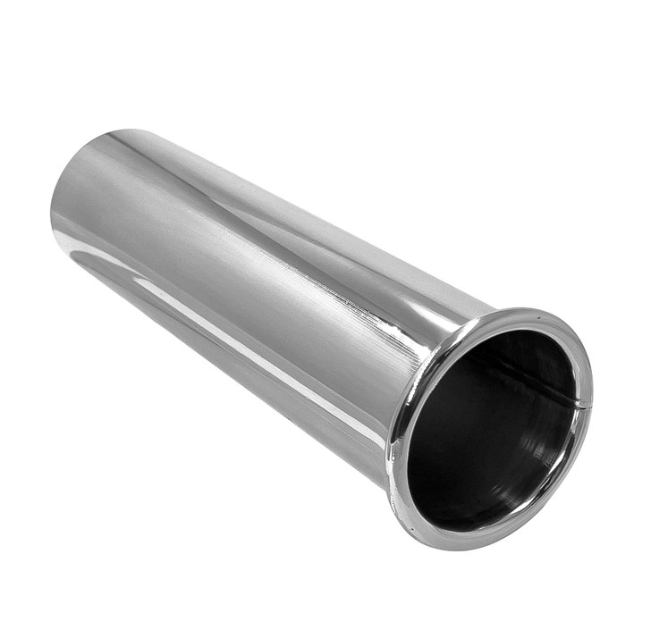 2 inch round straight cut rolled edge mirror polished 304 stainless steel exhaust tip pe51rt