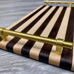 Striped Black White Serving Tray With Polished Gold Handles