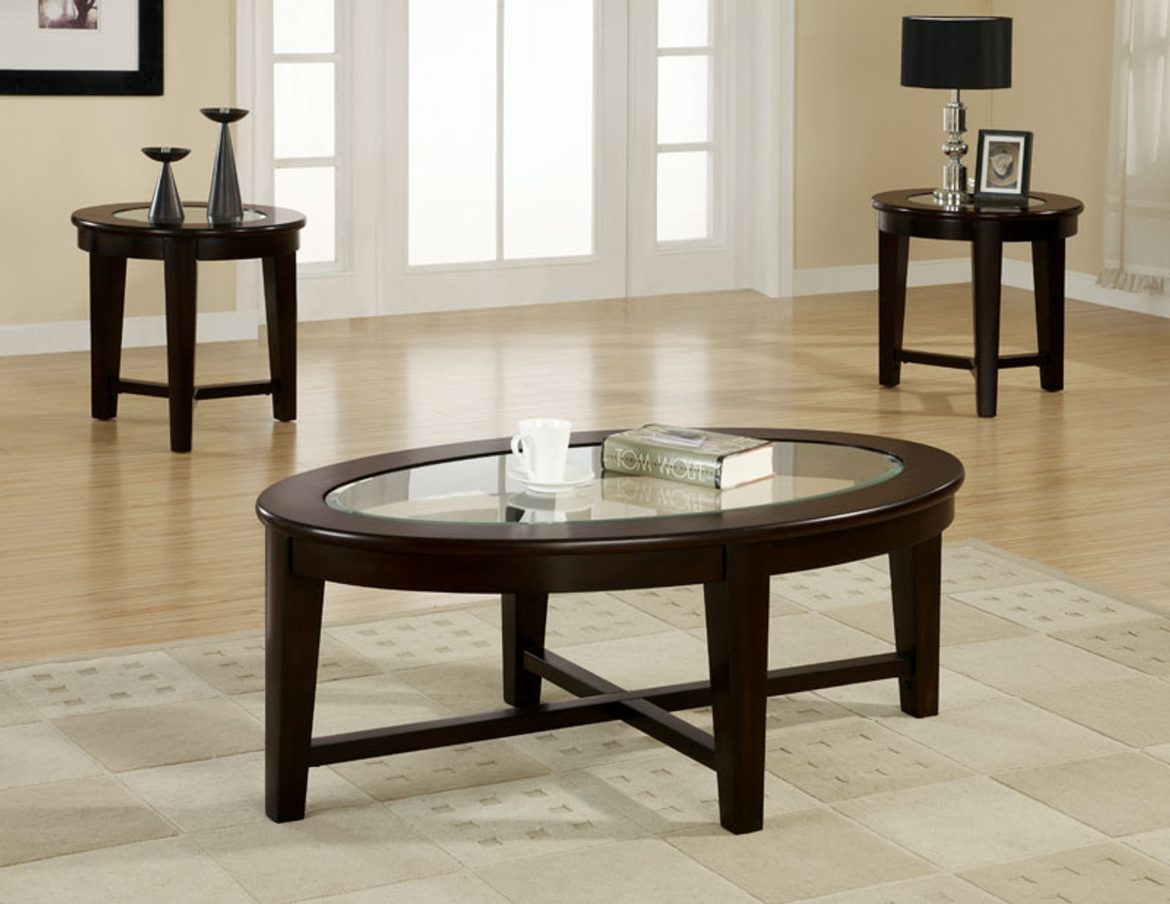 oval glass occasional and end table set