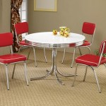 50 S Style Round Retro Table W Four Red Chairs