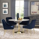Kendra 5 Pc Round Marble Dining Table With 4 Chairs