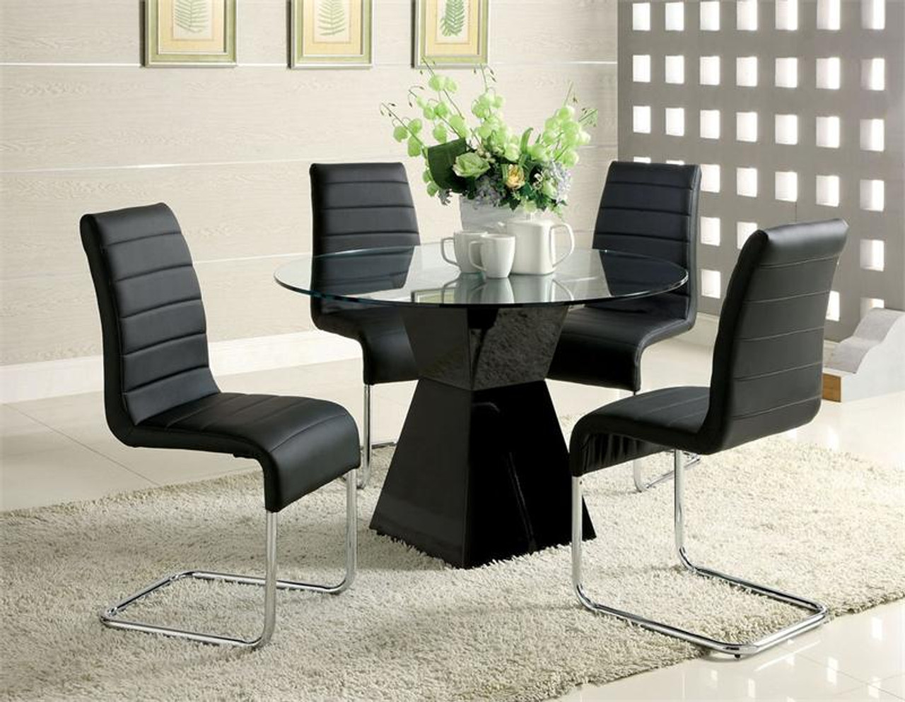 45 Inch Lynelle Round Glass Top Black Dining Table W Chairs