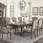 Kaycee Brown Oak 108 Inch Extendable Dining Table Seats 8