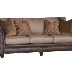 Material And Leather Sofa Down Blend Fabric Withnailhead Trim 9000 In