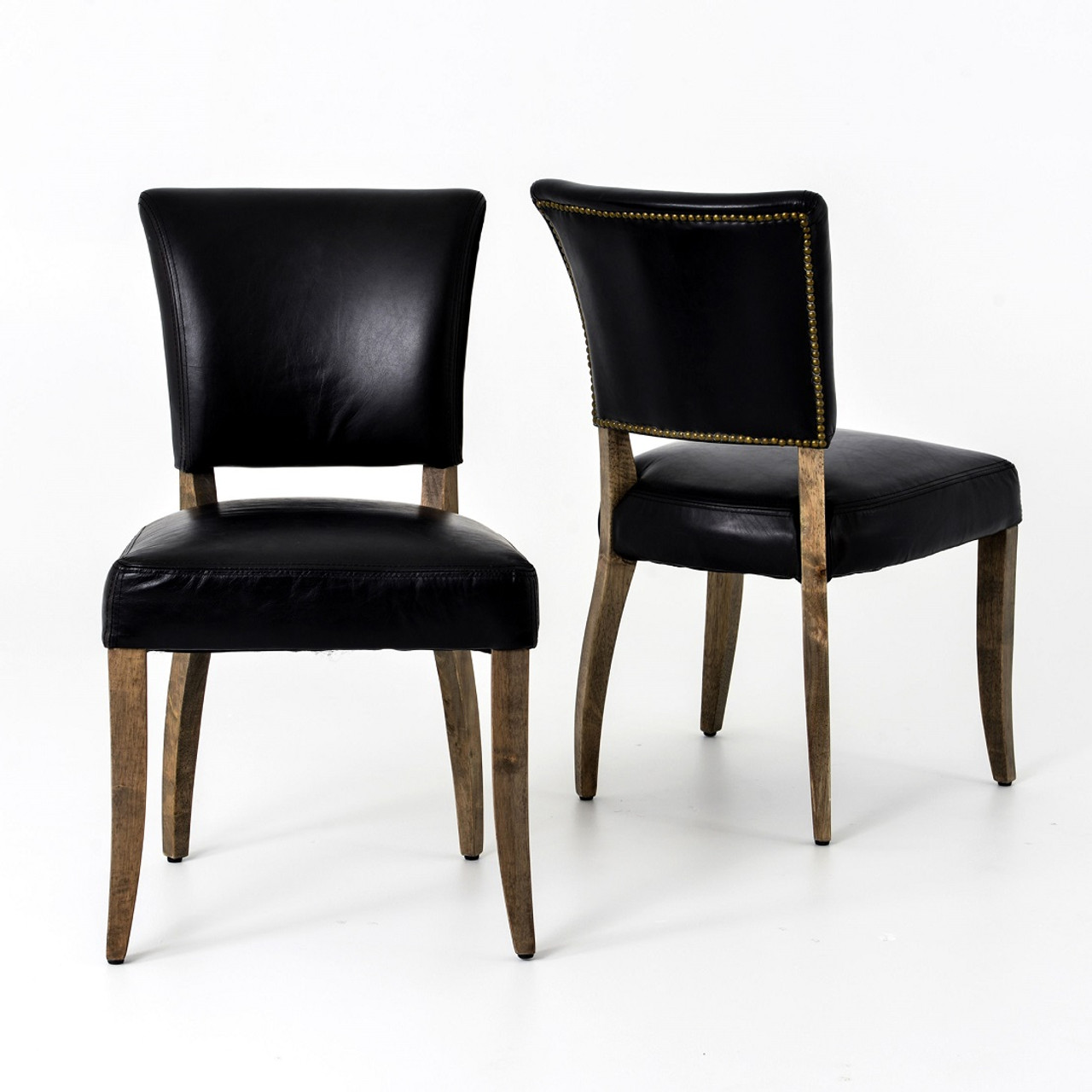 Black Leather Dining Chairs Mimi Saddle Black Leather Dining Chair