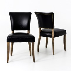 Leather Dining Chairs Small Wooden Rifton Chair Mimi Saddle Black Zin Home Carnegie Old Weathered Oak