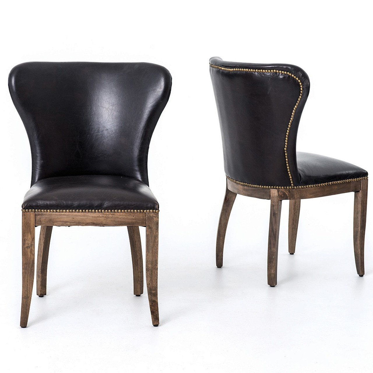 Black Leather Dining Chairs Richmond Black Leather Wingback Dining Chair